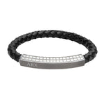 INB37 leather and steel adjustable bracelet