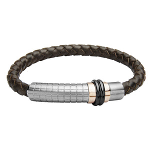 INB39 leather and steel adjustable bracelet