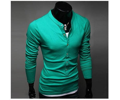 Hot Sale Men's Fashion T-Shirt Single-Breasted Cotton T-Shirt Free Shipping Long Sleeve Slim T-Shirt 4 Color-AllExpressNow