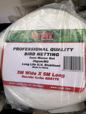 Bird netting 5m x 5m White