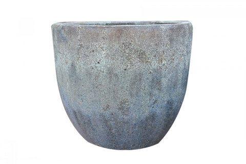 Sand Glazed Round EGG Planter, Blue/Green
