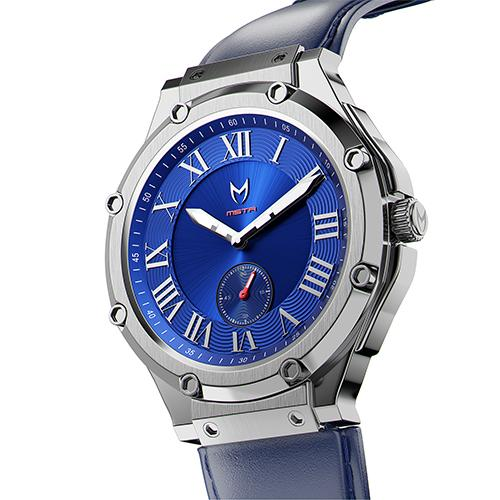 MSTR AU117LB Ultra Slim Silver Blue Leather Band