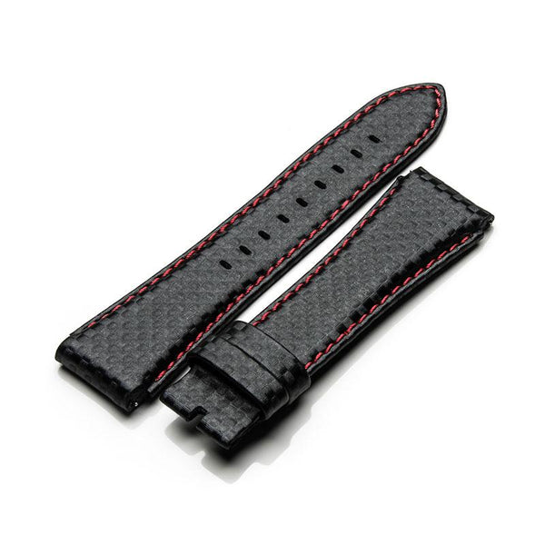 STR MSTR SB203CF Black Carbon Fiber Red Stitch Strap