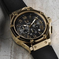 MSTR AM1001LB Ambassador Polished 18k Gold Black Leather Band