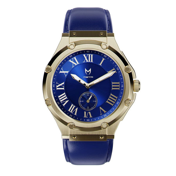 MSTR AU113LB Ultra Slim Champagne Gold Blue Leather Band