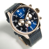 MSTR AV117CB Aviator Polished Rose Gold Blue Dial