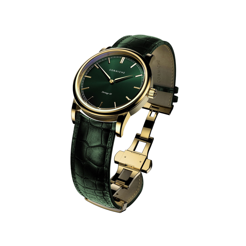 Corniche Men's Heritage 40 Yellow Gold with Green Dial