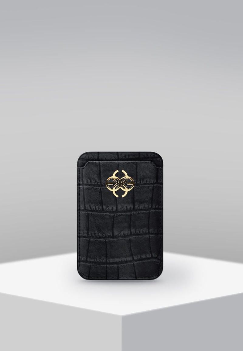 GC iPhone Wallet Croco Embossed Gold Logo