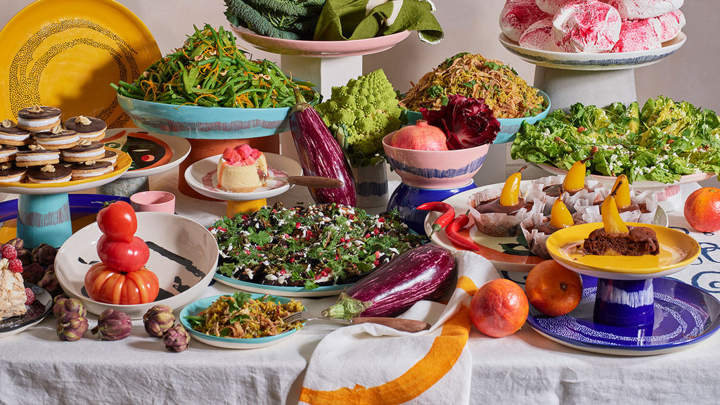 Ottolenghi Feast Tableware collection. Brightly coloured dinner plates, serving plates, platters, bowl and tapas dishes. wagreen.co.uk