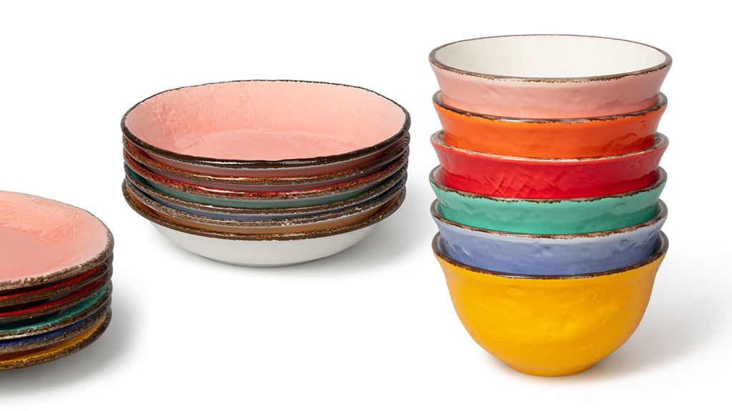 Multi coloured tableware. Stack of rainbow coloured tableware. Pink, orange, yellow, green, blue, pink tableware. Dinner plate, side plate, pasta bowls, soup bowls. wagreen.co.uk