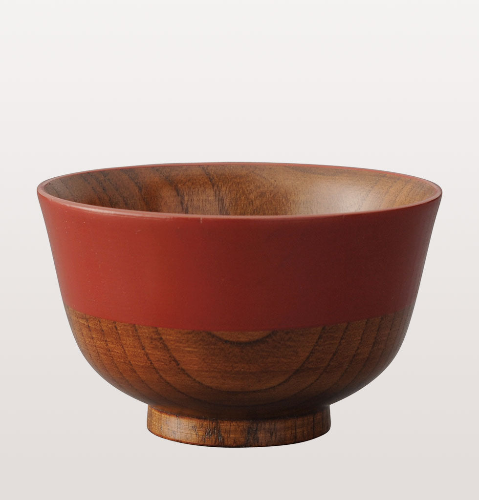 Japanese red wooden soup bowl by Kawai. wagreen.co.uk