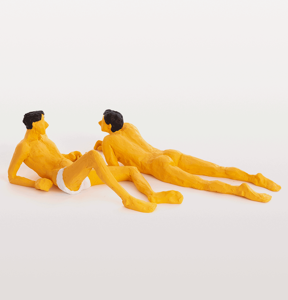 Jean and Jean male couple. Love is a verb. Limited Edition sculptures by Milan based plasticine artist Tatiana Brodatch from Seletti.