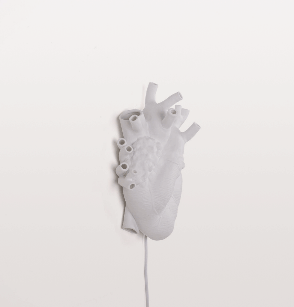 WHITE PORCELAIN HEART LAMP