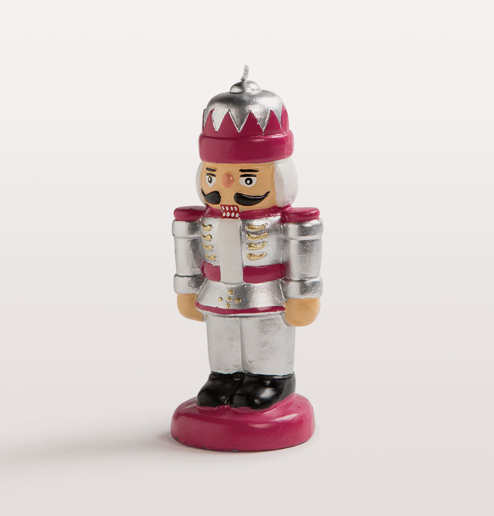 Silver and red Nutcracker toy soldier table candle. Perfect host present for Christmas or stocking filler and Secret Santa