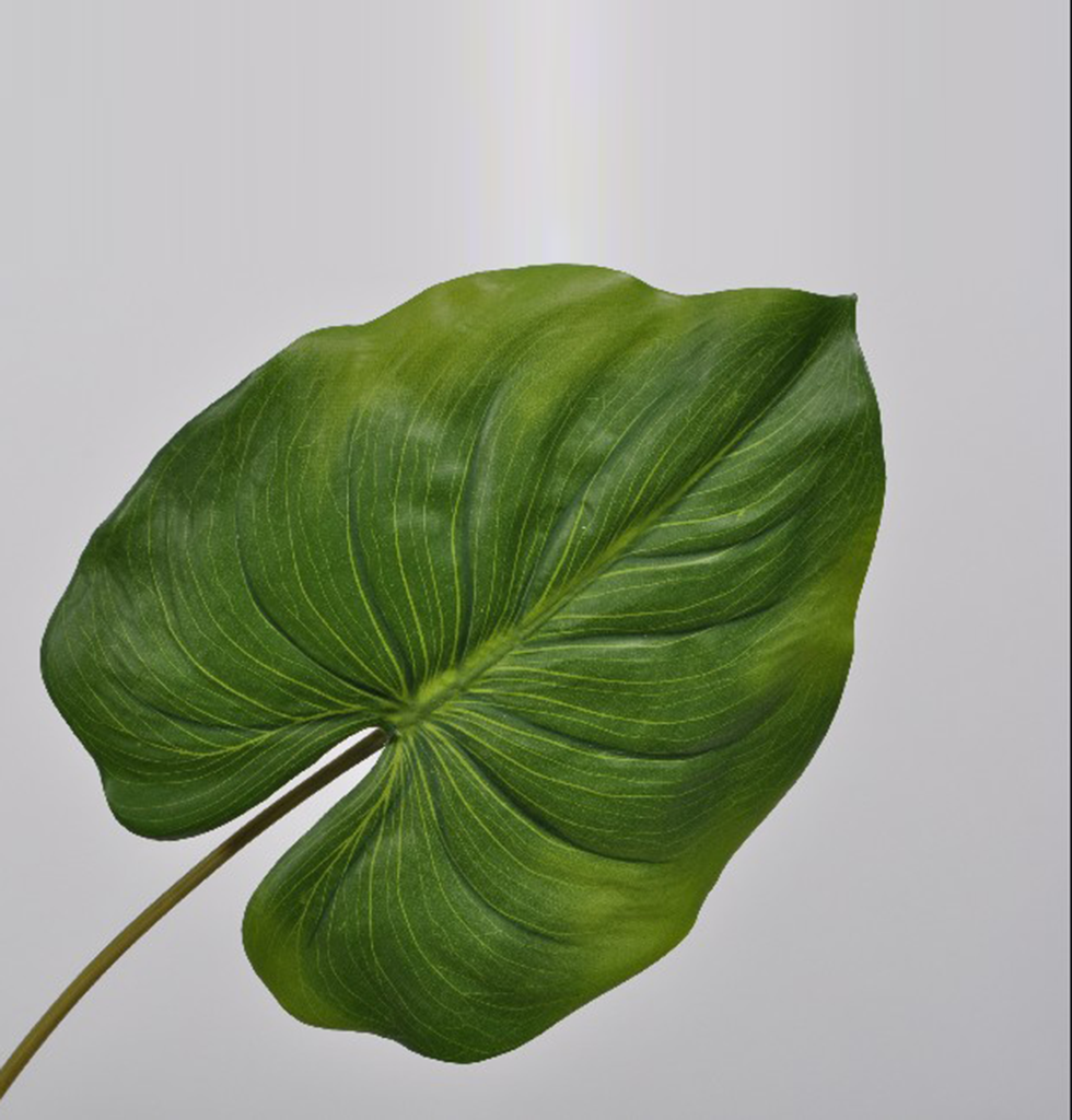 LARGE GREEN FAUX TROPICAL LEAF ALOCASIA