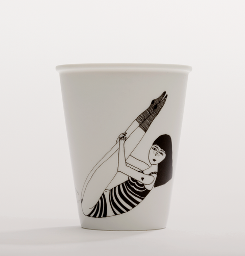 Farting yoga girl cup from Helen B