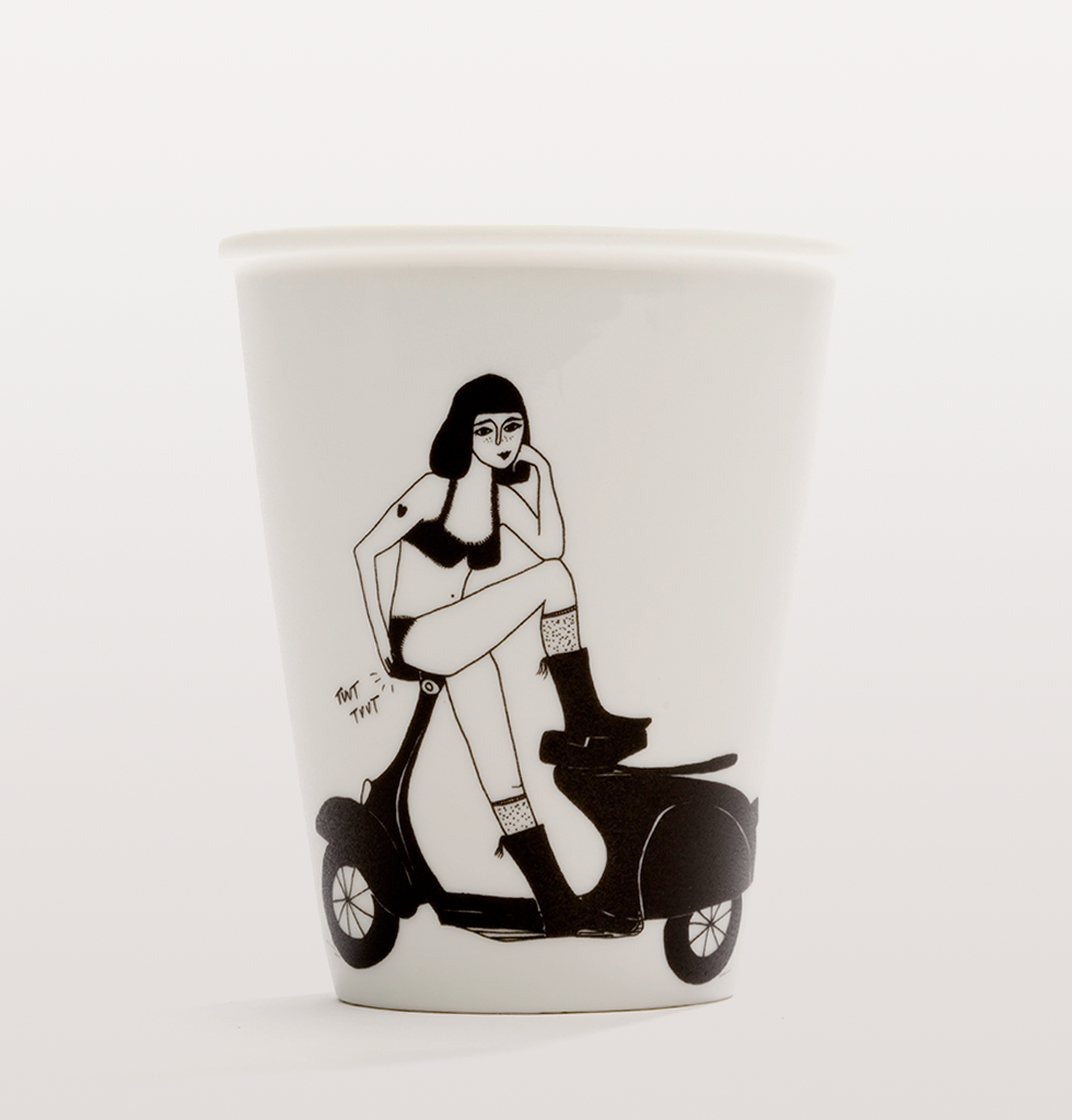 Pin up vespa scooter fart girl cup by Helen B