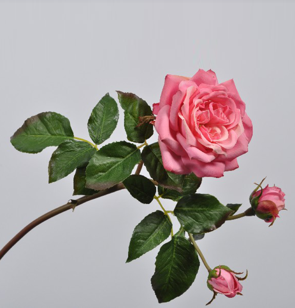LUXURY FAUX FEEL REAL PINK ROSE STEM
