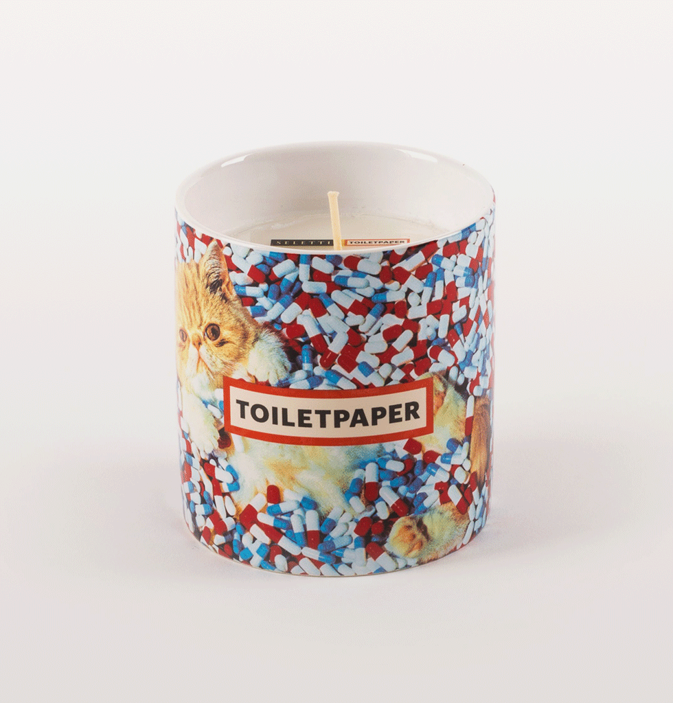 Seletti Toilet Paper scented candle overdose pills and cat