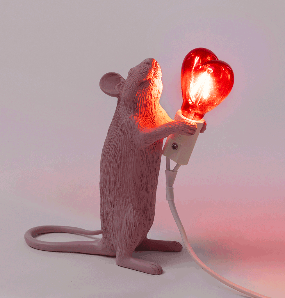 Seletti Valentine Heart Love Pink Mouse Standing light lamp. £85 wagreen.co.uk