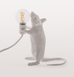 STANDING WHITE MOUSE TABLE LAMP LIGHT