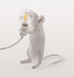 SITTING WHITE MOUSE TABLE LAMP LIGHT