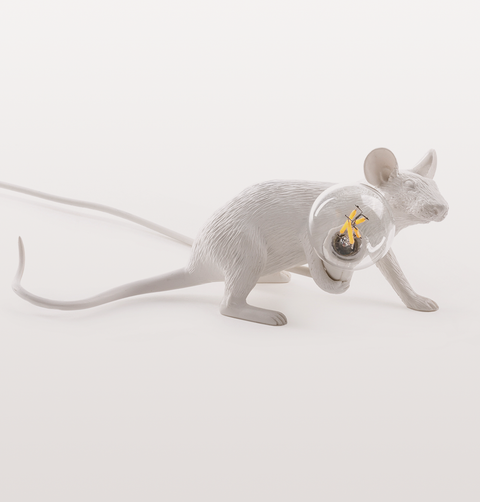 LYING DOWN WHITE MOUSE TABLE LAMP