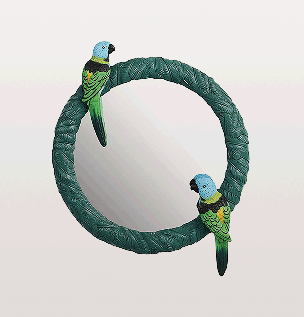 ROUND GREEN CANARY MIRROR