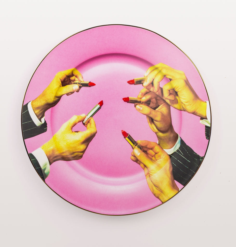 W.A.GREEN | TOILETPAPER FOR SELETTI | PINK LIPSTICKS DINNER PLATE