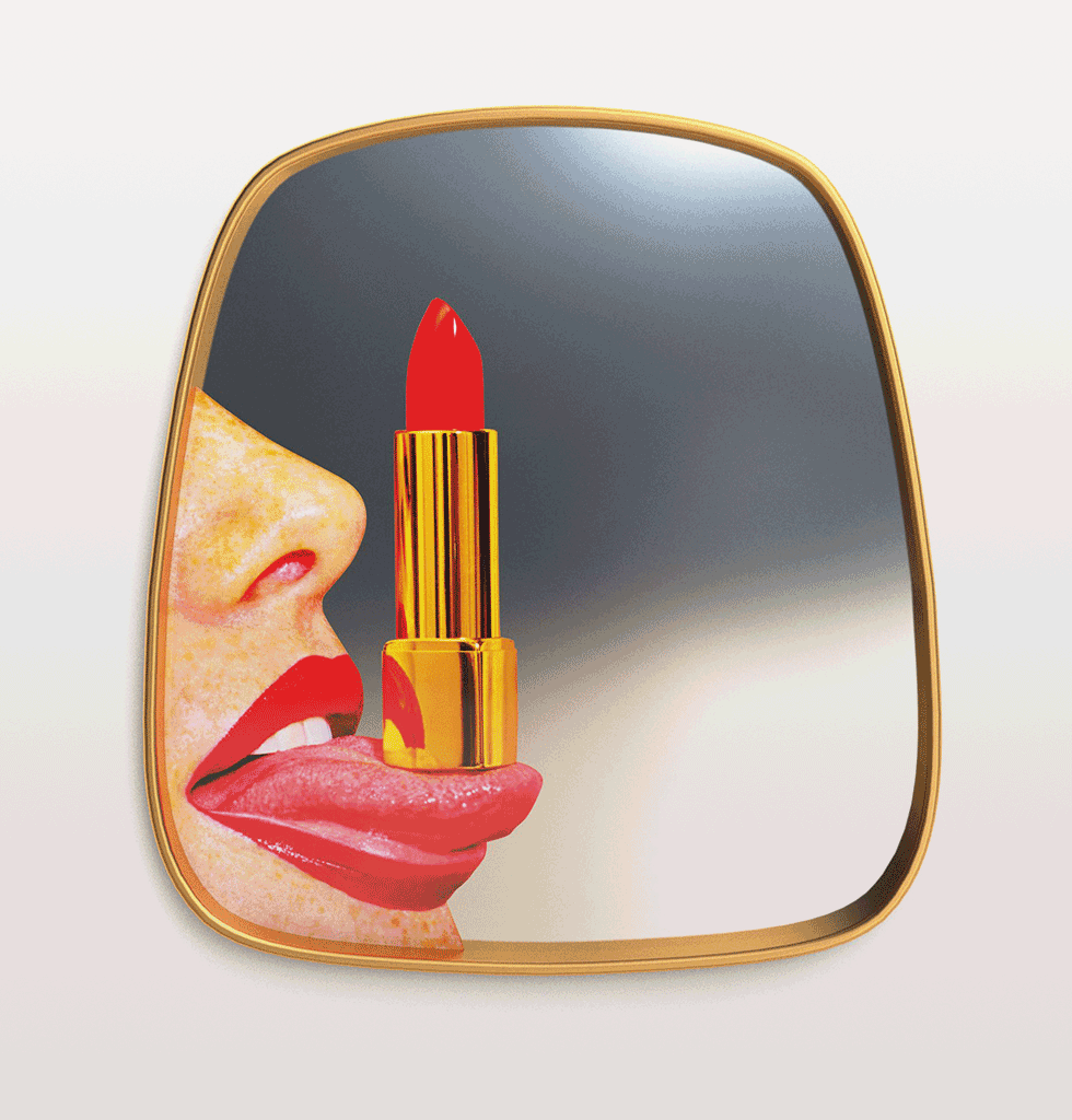 LIPSTICK TONGUE MIRROR BY TOILET PAPER
