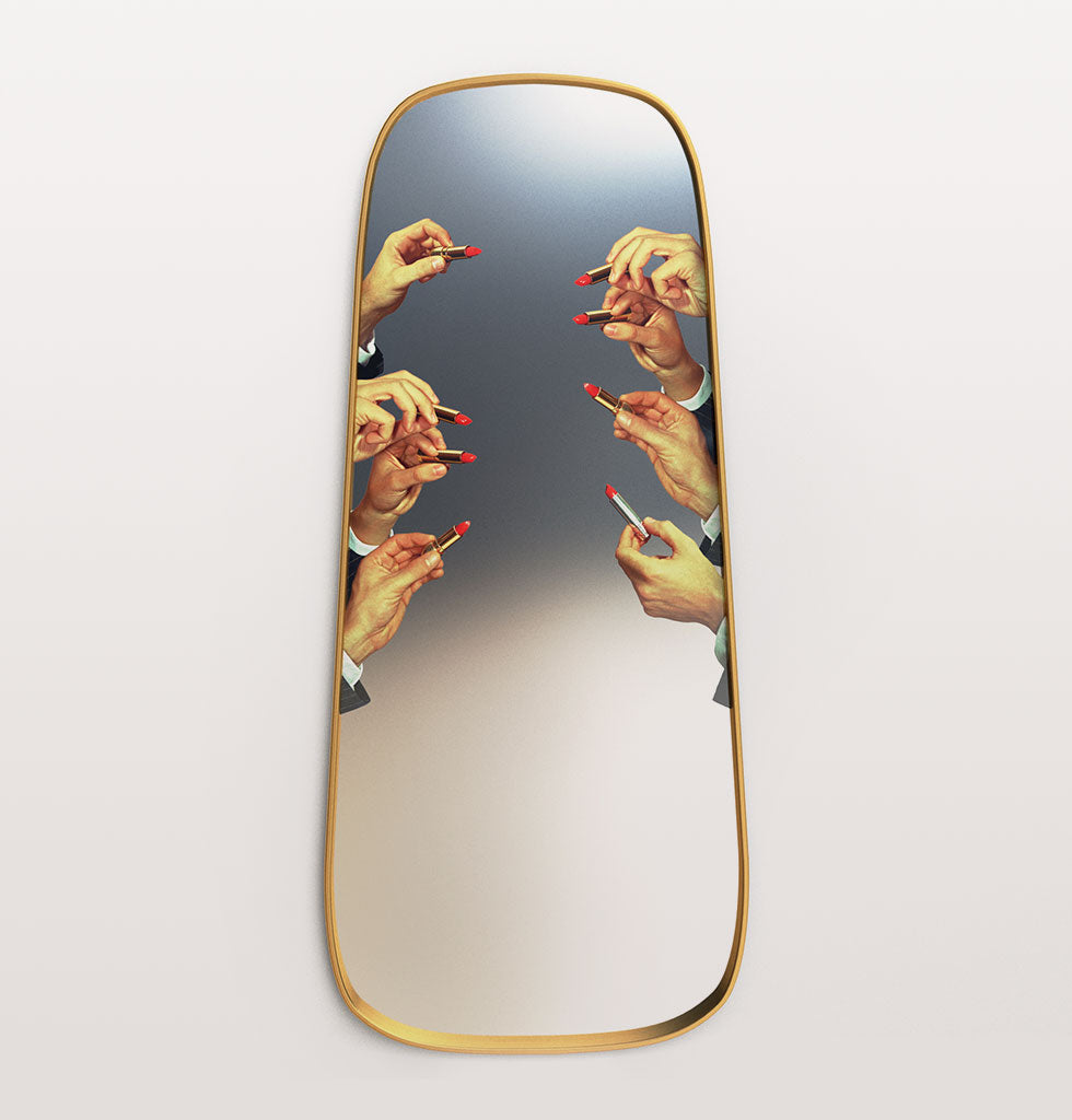 Seletti by Toiletpaper magazine full length gold frame lipstick mirror with hands holding lipsticks. £450 wagreen.co.uk