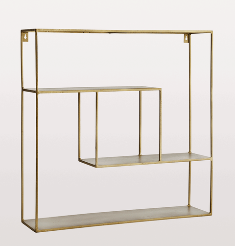 Square brass wall shelf quadratic