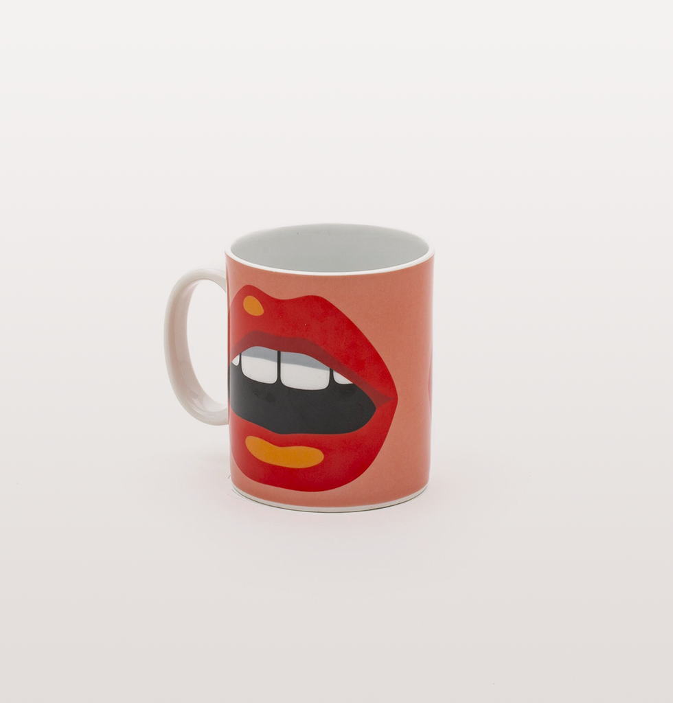 RED AND PINK MOUTH MUG BY STUDIO BLOW