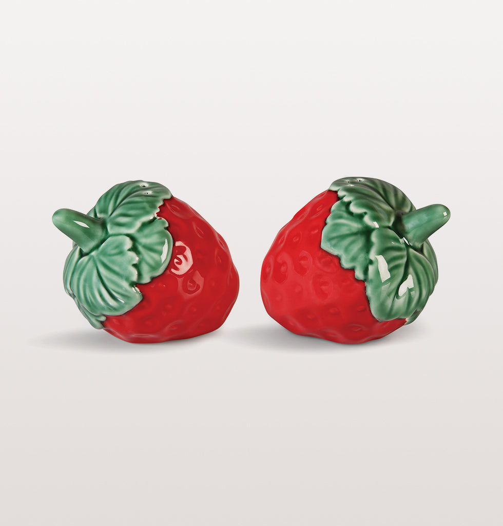 W.A.GREEN | &K | Super sweet summer strawberry salt and pepper set. This pretty red and green cruet set looks charming on a summer table or just pretty on the side of your kitchen dresser. £20 wagreen.co.uk