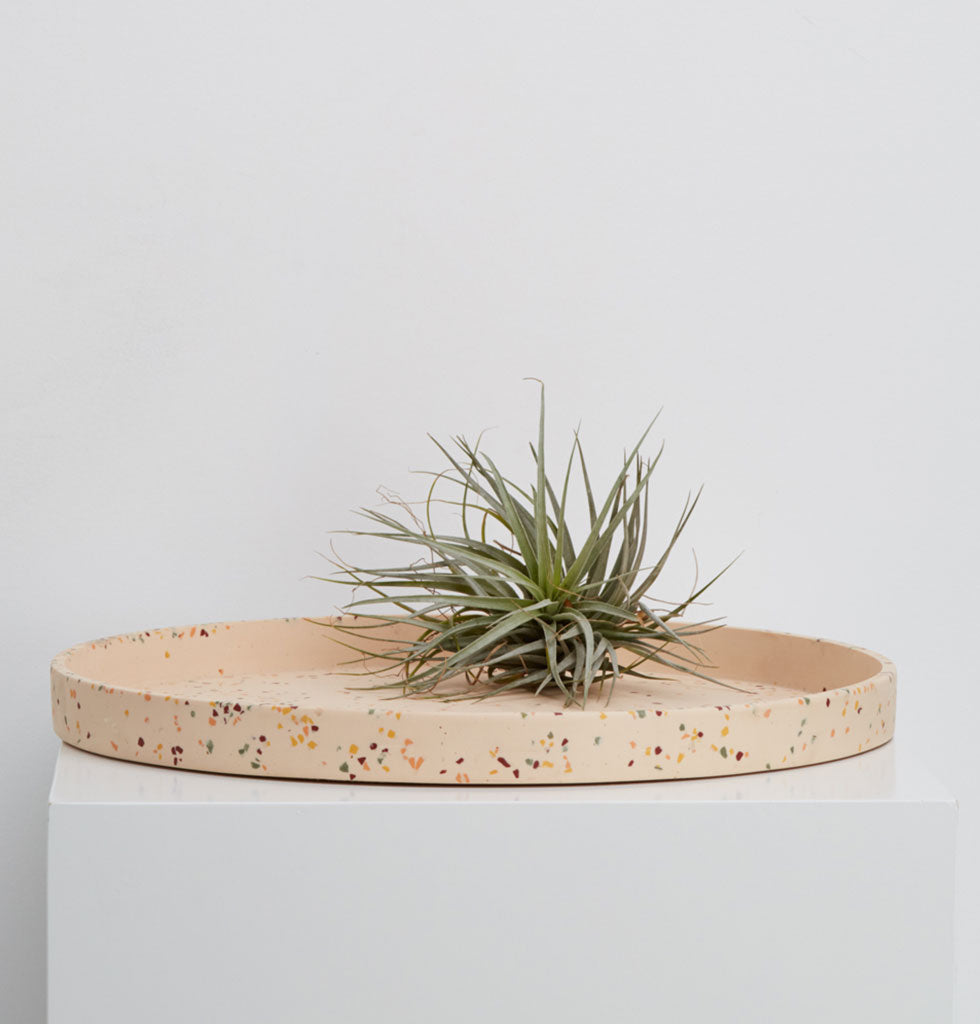 Extra large round display tray in salt pink terrazzo. The perfect tray to place permanently as a table centrepiece, on a dresser for jewellery or as a kokadama tray.