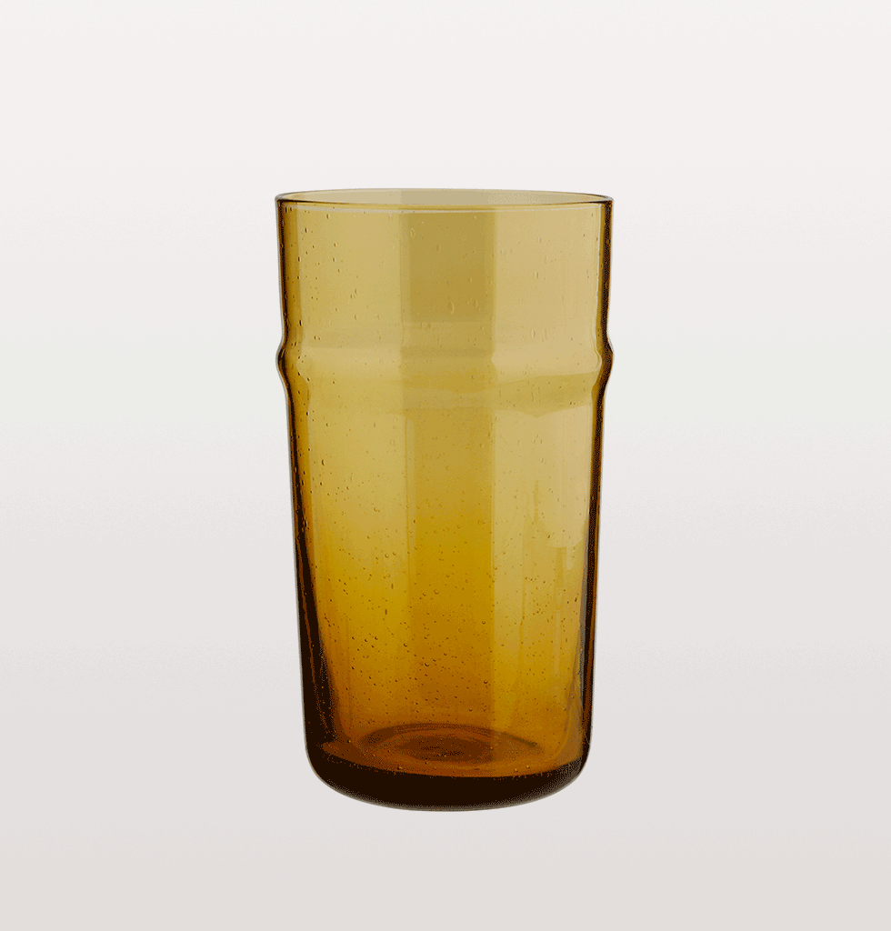 TALL BELDI AMBER MOROCCAN DRINKING GLASS