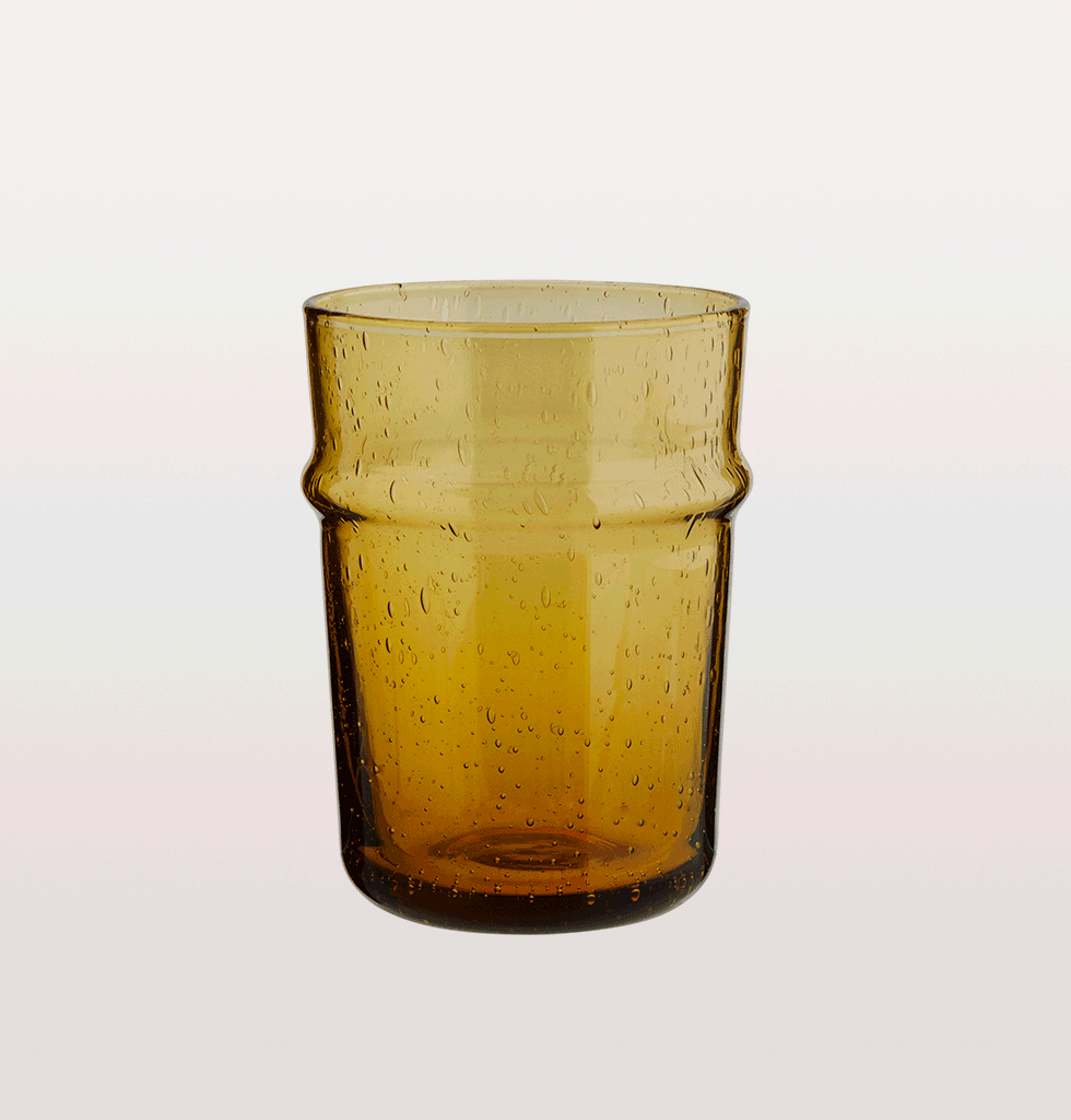AMBER MOROCCAN DRINKING GLASS SHORT