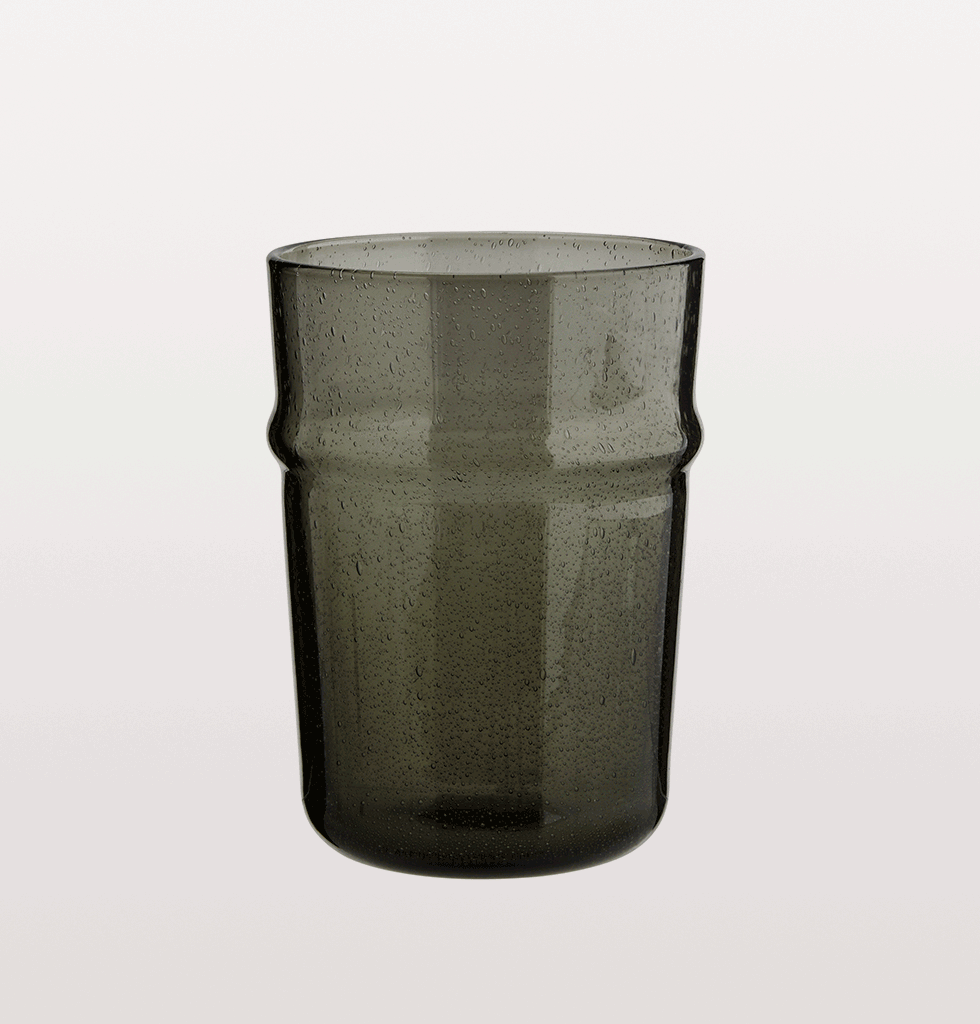 Small grey tumbler glass Madam Stoltz Beldi design Morroco