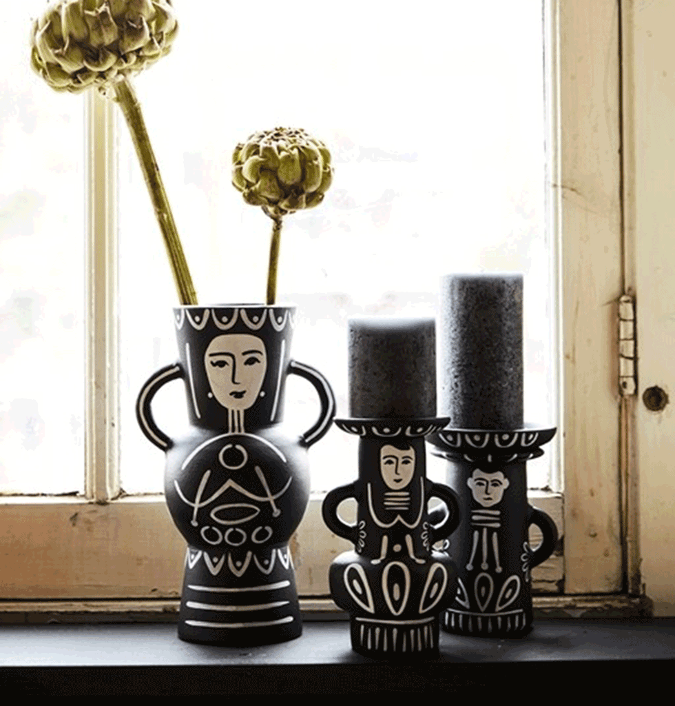 Black and white Mexican inspired Dora vase and pedro ines candleholders Kitsch Kitchen. wagreen.co.uk
