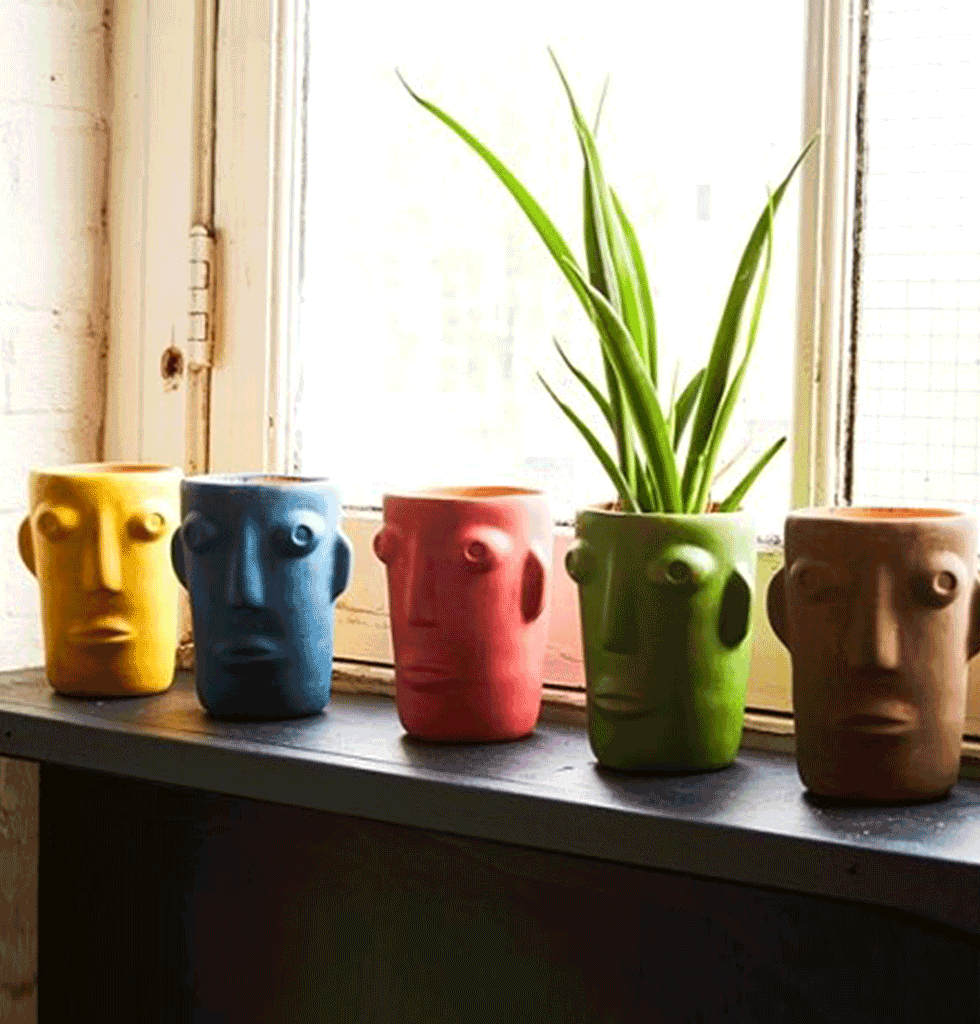 Kitch Kitchen coloured cabeza head face vase pots