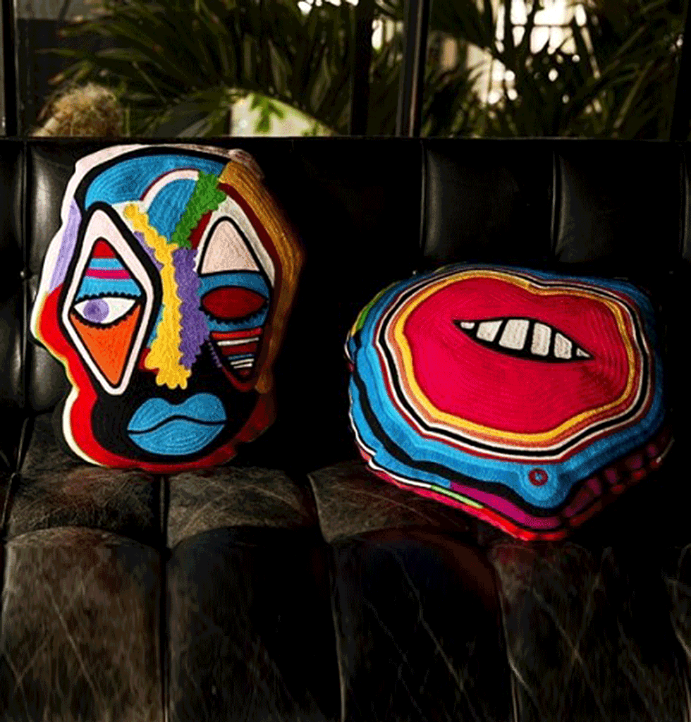 W.A.GREEN | BRIGHT BOLD LIPS CUSHION BY PARIS ESSEX KITSCH KITCHEN