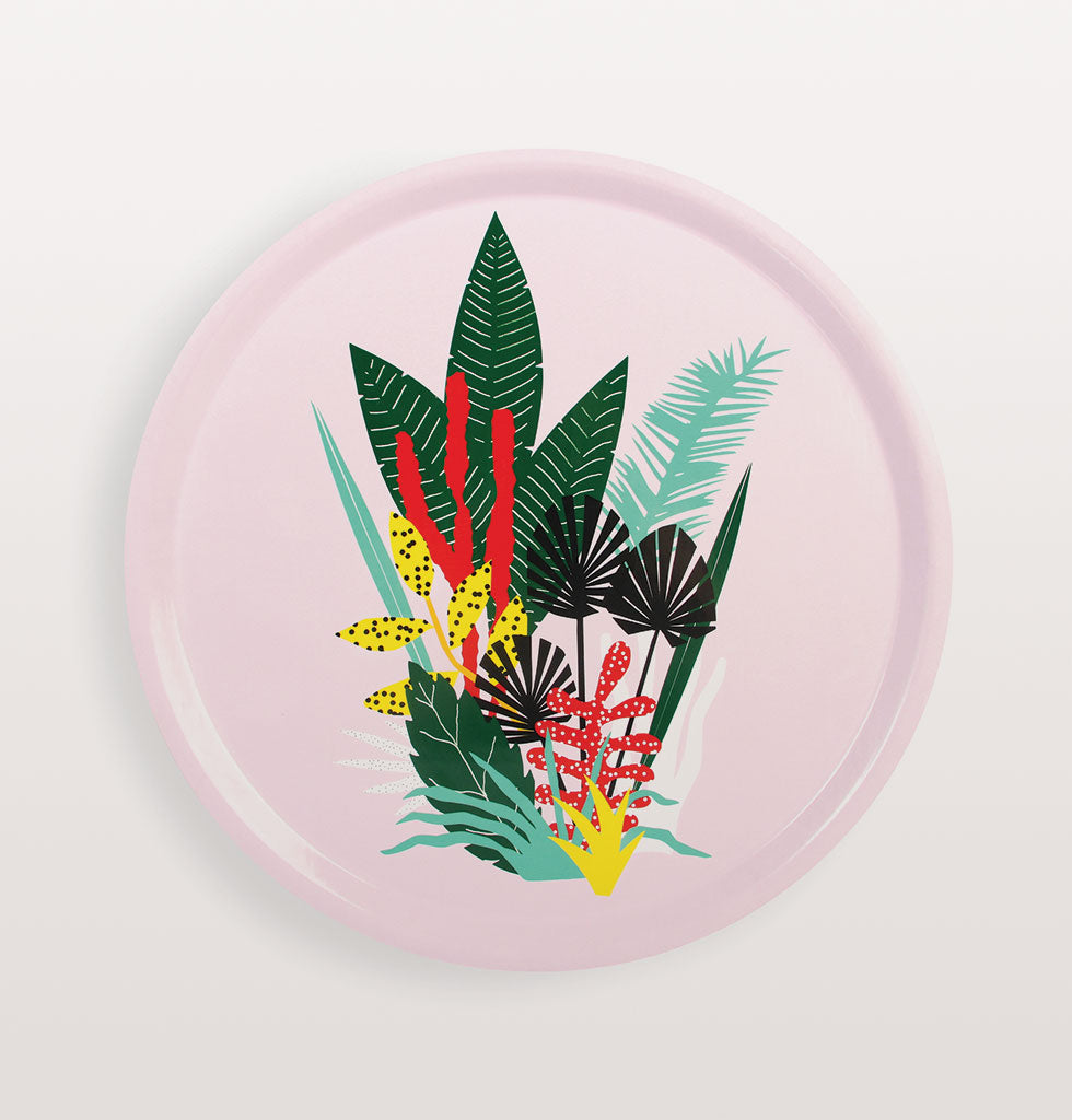 Aloha! This tropical botanical pink drinks tray will give you all the fun points you need at your garden party.    Designed by Dutch graphic design duo 'We are out of office'. Felix van Dam & Winneke de Groot inspire their bold and colourful work by the little rarities they pick up and collect during their travels around the world.   This durable bamboo display tray is as pretty as it is bold with its colourful floral design. £38