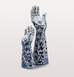HANDS UP! BLUE AND WHITE HAND CANDLEHOLDER PAIR BY POLS POTTEN