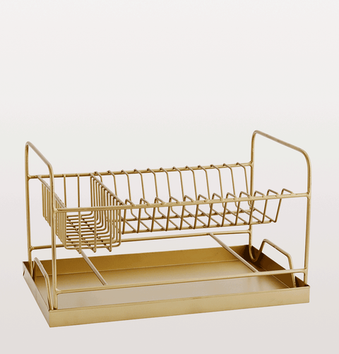 Brass dish rack with draining tray