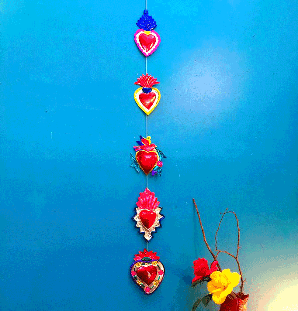 Ex voto Mexican tin heart garland