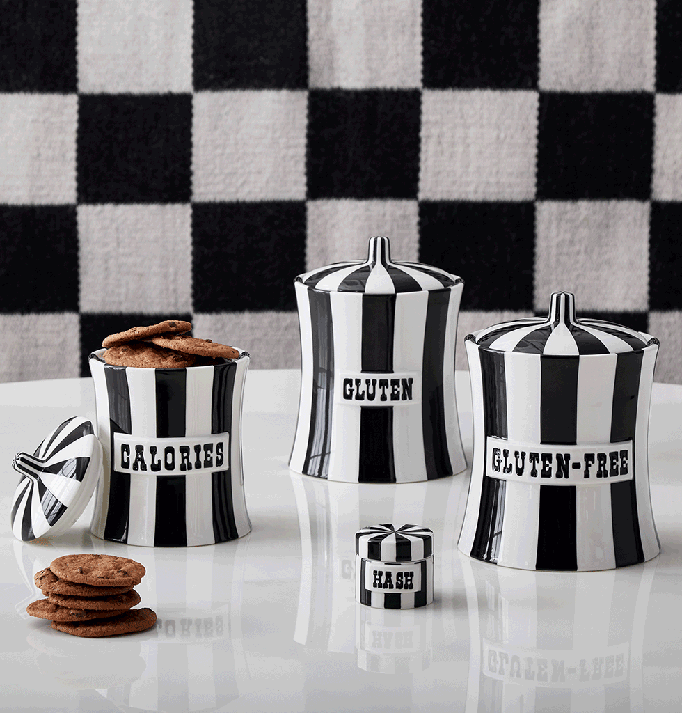 Jonathan Adler vice jars black and white hash