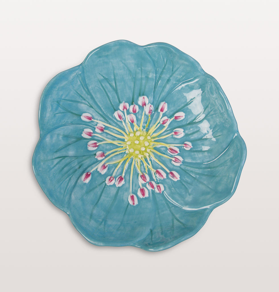 W.A.GREEN | &K | Blue Liverleaf Flower Dish. Floral summer tableware. £16 wagreen.co.uk