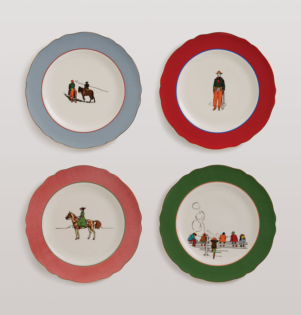 W.A.GREEN | &K | Yeehaw Cowboy, it's dinner time! This western inspired tableware set is set to make your mark in the hot desert sand.  This four piece side plate set features four different illustrated pioneering designs with pretty coloured borders for a nostalgic Americana theme. Use as side plates or hang on the wall. £58 wagreen.co.uk