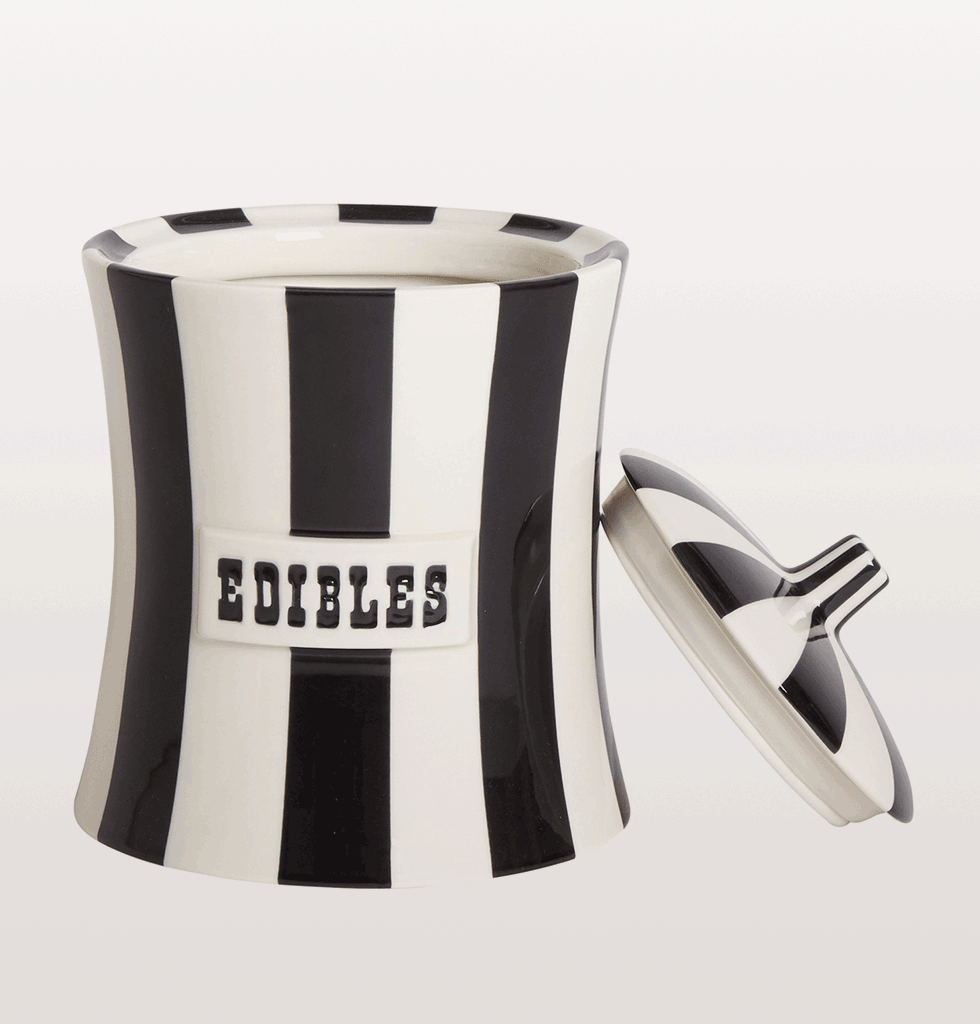 810023801030 Jonathan Adler black and white stripe edibles vice jar canister with lid