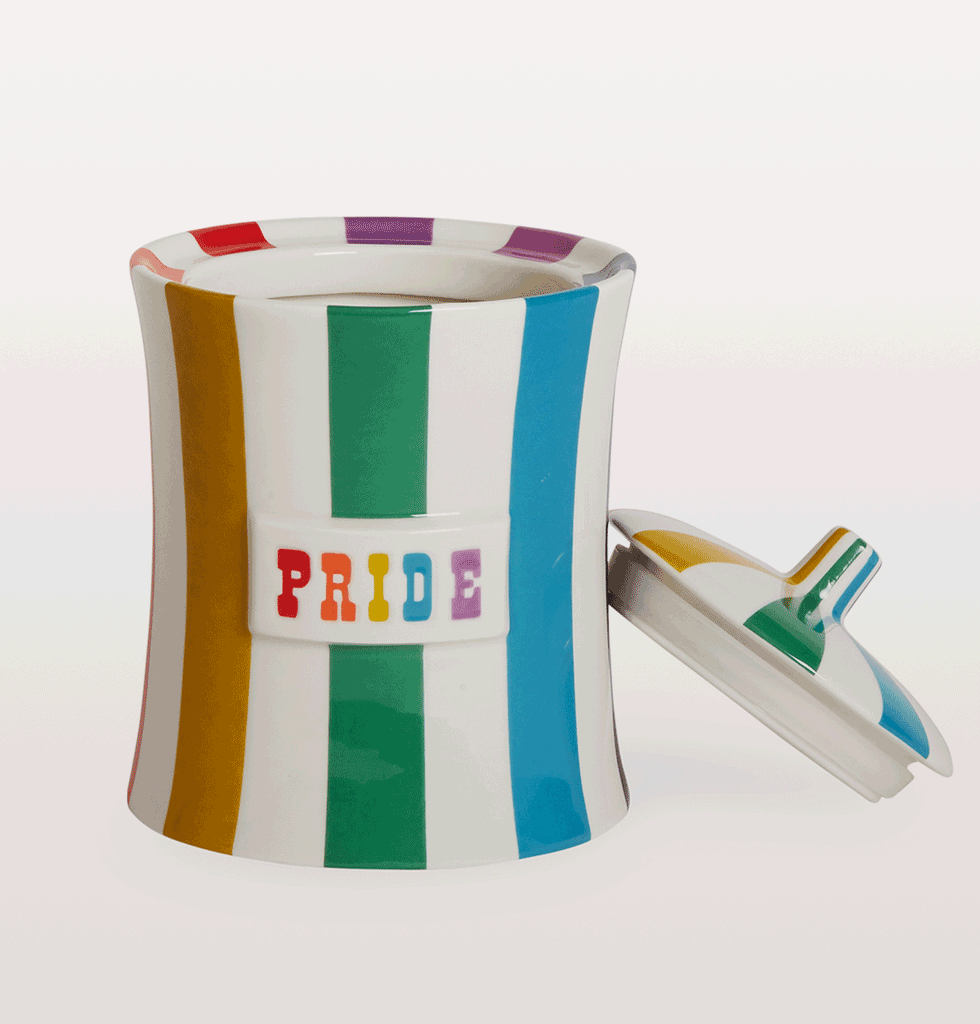 "W.A.GREEN | JONATHAN ADLER | To quote the words of one of our fav party tunes, YMCA, ""I said, young man, put your pride on the shelf!""  Wonderful new Pride canister jar to the much loved Vice range from Jonathan Adler. These rainbow bright striped storage jars will jazz up your kitchen worktops or bathroom when you're in need of an ego boost. £98 wagreen.co.uk"